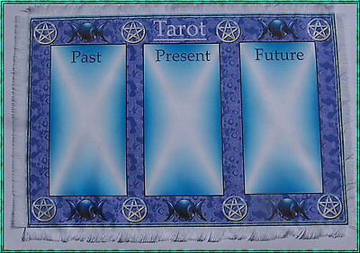 Triple Moon Tarot Card Mat Wiccan, Wicca, crystals divination, Pagan.