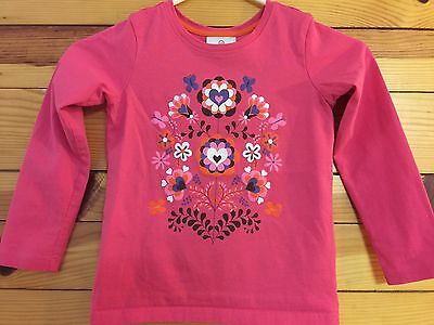 *HANNA ANDERSSON* Girls Pink Floral Heart Top Shirt Size 120 6-7-8