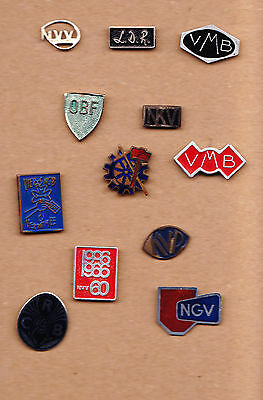 Vintage Trade Union pin badges 1960s + other initial pins VMB NVV