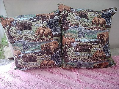 Bears Black & Crissy      One Pair Of Cushion 40  Cm / 16 Inches