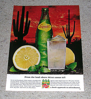 1966 Squirt Dessert Cactus Sunset Ad. . Great single page Magazine Color Ad.