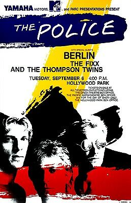 THE POLICE 1983 Hollywood Park CONCERT POSTER Berlin THE FIXX Thompson Twins