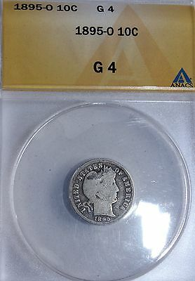 1895 O Silver Barber Dime ANACS G 4 Problem Free Key Date Investment Grade Coin