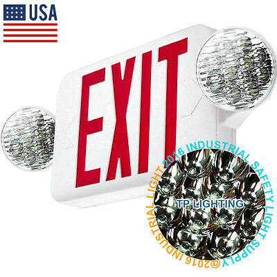 LED Exit Sign & Emergency Light – High Output - RED Compact Combo UL924 New