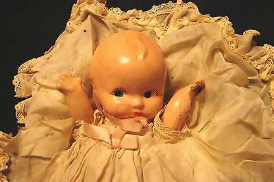 """Sweet Vintage 7"""" Tall Composite Baby Doll w/ Jointed Arms & Original Night Dress"""