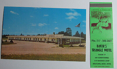 1960's Postcard And Matchbook Combo Lakeview Motel & Restaurant Decatur Indiana