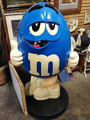 Rare Used Blue M & M's Figural Store Floor Model Candy Display With Wheels