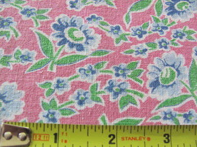 2 matching feed sacks in pretty pink blue lime green floal print cotton original
