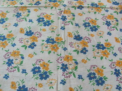 Vintage original authentic cotton feed sack in bright yellow blue flowers
