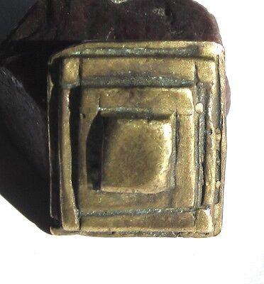 RARE LARGE OLD AKAN/ASHANTI SOLID BRASS FIGURATIVE GOLDWEIGHT 9mm x 21mm x 24mm