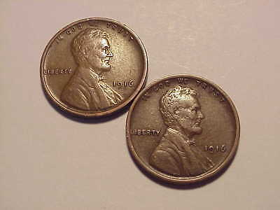 2 1916 Lincoln Wheat Cents VF+/XF 2 Coins
