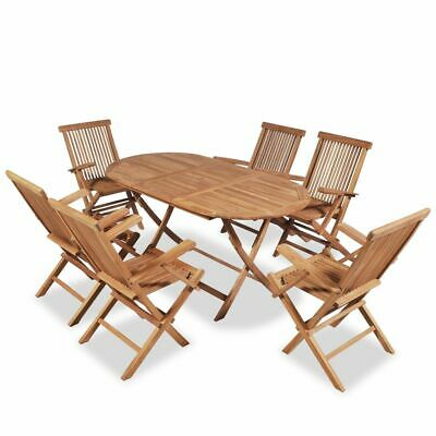 Teak 7 Piece Wooden Outdoor Dining Garden Patio Furniture Folding Table Chairs