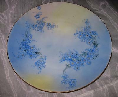Vintage Hand-Painted (Artist Signed) Porcelain Plate~Blue Flowers~Gold Edge