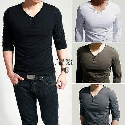 Men's Slim Fit Tee V Neck Long Sleeve Cotton Casual T-shirt Tops Blouse TXCL