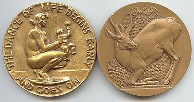 Society of Medalists (1938) #17 Dance of Life, & #18 Conserve Wildlife/Antelope