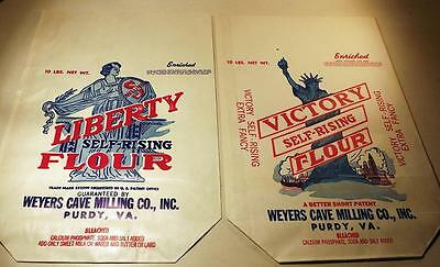 2 Vtg WWII Era Flour Bags LIBERTY & VICTORY w Homefront Appeal Purdy, VA c1940s