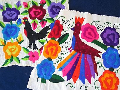 2 Chickens Birds Flower Power Finished Vtg Wall Art Pillow Top Crewel Embroidery