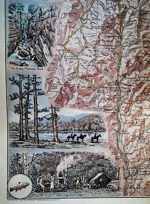 The National Geographic Society Map New Hampshire White Mountains 1937 Vintage