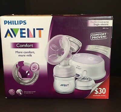 Philips Avent Comfort Breast Pump Single Electric Model SCF332/01 NEW in Box