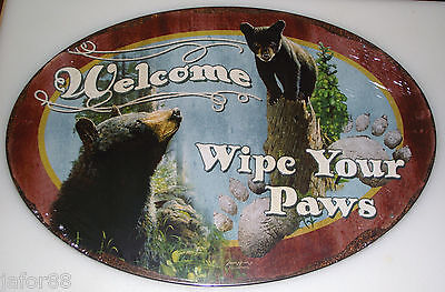 WELCOME,  WIPE YOUR PAWS, METAL SIGN.. APO and FPO CUSTOMERS WELCOME