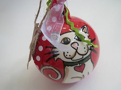Glory Haus Cat Ball Ornament Christmas Ceramic Porcelain Red Whimsical Design