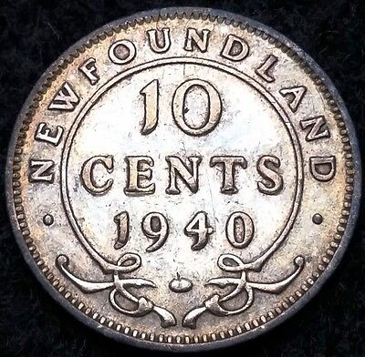1940 Newfoundland Silver 10 Cents Dime ***Double Date w/ Die Crack*** SCARCE