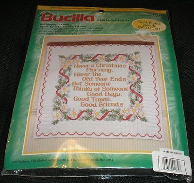 Bucilla NEVER A CHRISTMAS MORNING Lap Quilt Stamped Cross Stitch Kit 84118 45X45