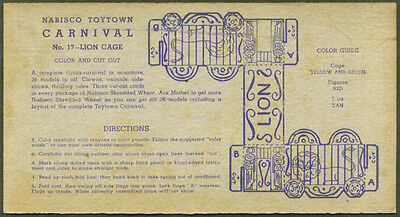 Nabisco Toytown Carnival card #17 Lion Cage