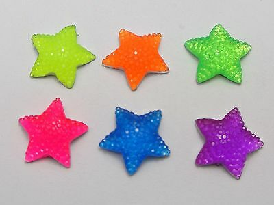 50 Mixed Color Flatback Resin Dotted Rhinestone Star Cabochon Gems 15X15mm