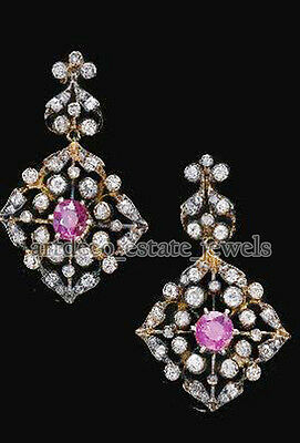 2.25ct ROSE CUT DIAMOND TOURMALINE .925 SILVER EARRING