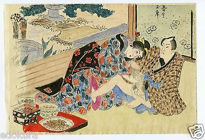 Antique Original Japanese SHUNGA Completely Hand Drawn and Colored Print #25