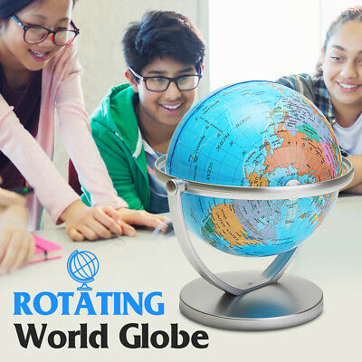 World Globe Earth Ocean Atlas Map Rotating Stand Geography Educational English