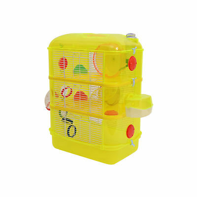 PawHut Plastic Hamster Cage 3-Tiers Pet Habitat Exercise Play Iron Wire Yellow