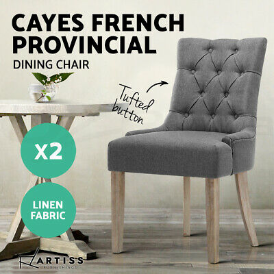 2x CAYES Dining Chair Linen Fabric French Provincial Wood Retro Kitchen GREY