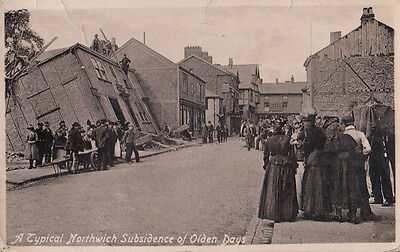 Subsidence Of Olden Days Northwich Antique Real Photo Postcard