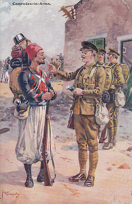 Comrades In Arms British Army Smoking Enemy WW1 Military Gale & Polden Postcard