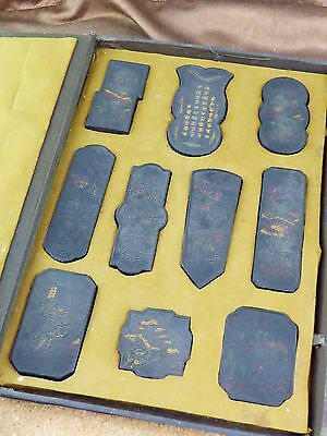 Antique chinese ink stone set boxed