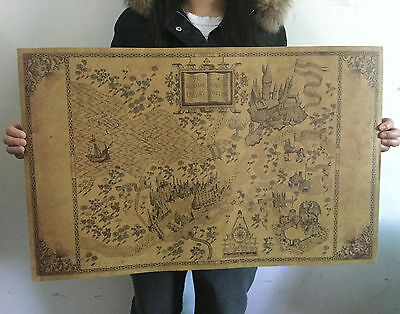 Retro Harry Potter Magic Old World Map Brown kraft Paper Wizarding Poster 72x46