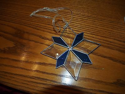 8 Point Beveled Navy Clear Stained Glass Christmas Star Ribbon Hanging
