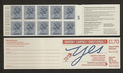 GB Stamps: Decimal Machin Folded Booklet FT7B with Cylinder Number.