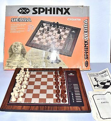 Sphinx Sierra Electronic Computer Chess Set Cxg647W Complete, Faulty