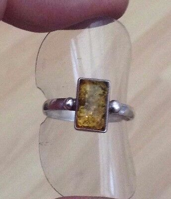 Silver Amber Ring Pretty