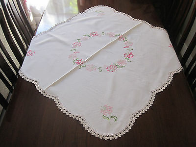 Pretty Vintage Hand Embroidered Pink Lillies Tablecloth