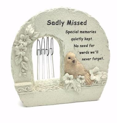 Sadly Missed Windchime Grave Memorial Remembrance Plaque Ornament DF15840Y