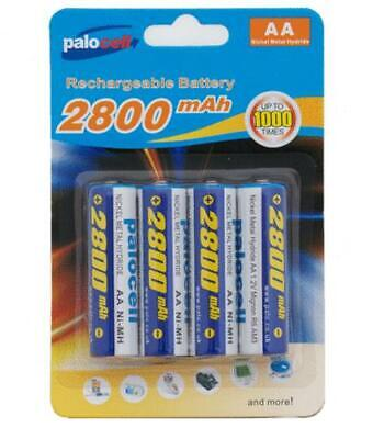 4 x Pack AA Palo Palocell Rechargeable Rechargable Batteries NIMH 2800mAh ver...