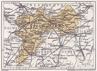 1923 map of Ireland: King's County Offaly  antique ready-mounted print SUPERB