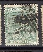 SPAIN , 1873, SG209 TY42 10c GREEN, USED....