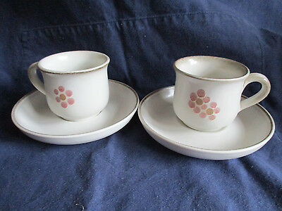 VINTAGE 1970'S DENBY GYPSY COFFEE CUPS AND SAUCERS x 2