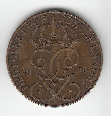 Sweden 5 Ore 1923 Crown Copper    321K              By Coinmountain