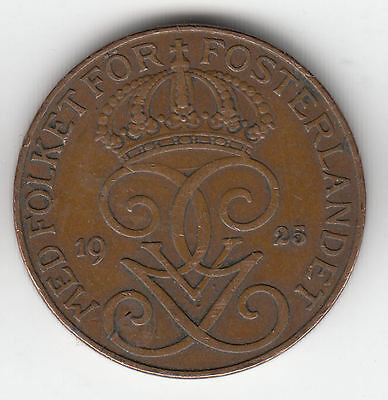 Sweden 5 Ore 1925 Copper Crown    323K               By Coinmountain